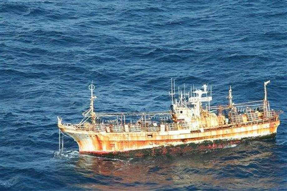 In this photo provided by the U.S. Coast Guard, the derelict Japanese fishing vessel RYOU-UN MARU drifts more than 125 miles from Forrester Island in southeast Alaska where it entered U.S. waters March 31. The vessel has been adrift since it was launched by a tsunami caused by the magnitude-9.0 earthquake that struck Japan last year. Associated Press Photo: AP / U.S. Coast Guard