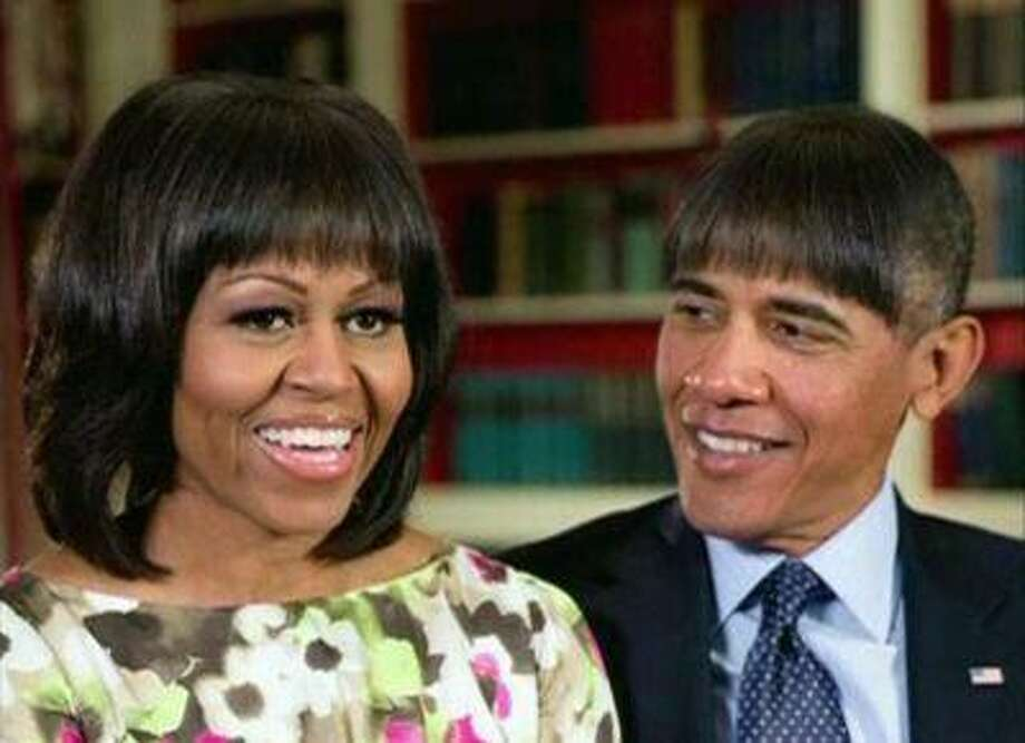 U.S. President Barack Obama makes light of his wife Michelle Obama's new bangs with a mock pictures of himself with the same hairdo in this humorous photo created by the White House shown at the annual White House Correspondents' Association dinner in Washington on April 27, 2013. Photo: REUTERS / X80001