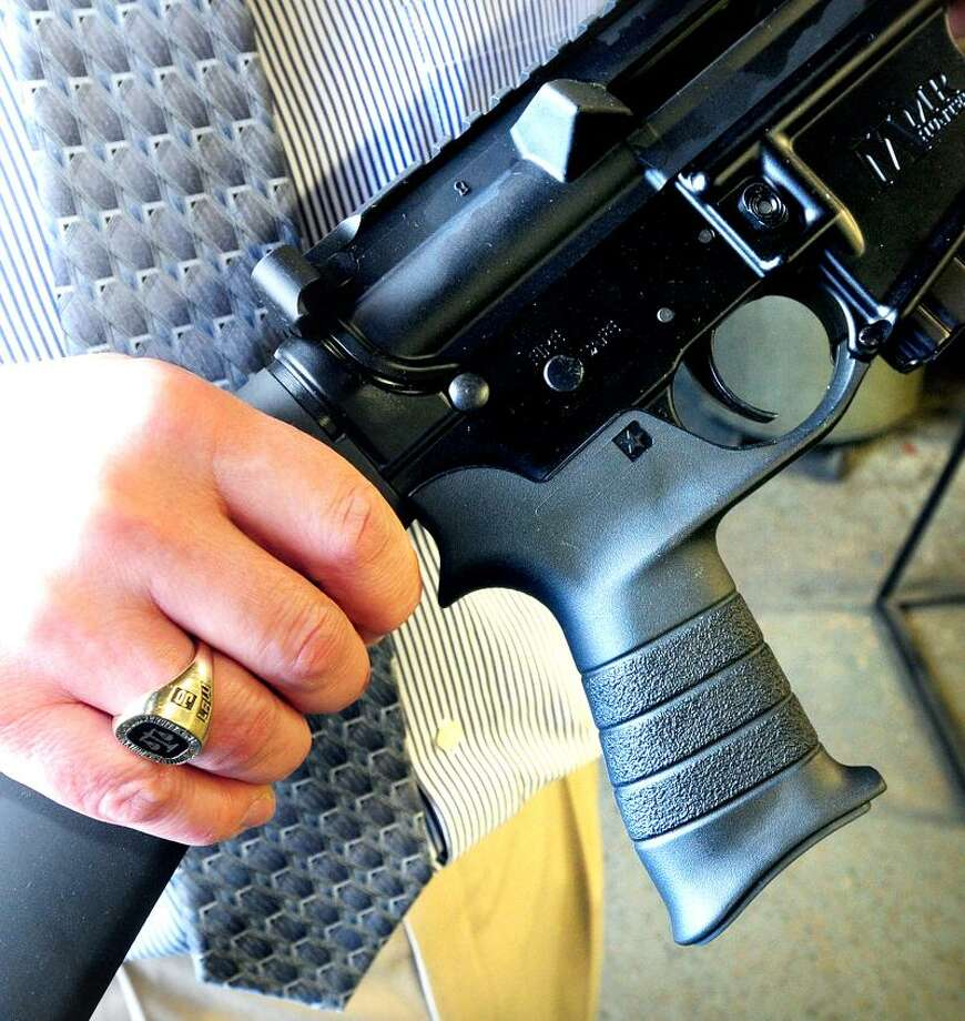 The MMR rifle produced at Mossberg and Sons in North Haven will be an illegal firearm in Connecticut because of the pistol grip.Photo by Arnold Gold/New Haven Register  AG0494B