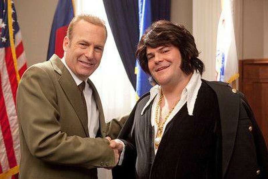 "Bob Odenkirk as President Richard Nixon welcomes Elvis, played by Jack Black, to the White House in ""Drunk History,"" Comedy Central's version of the popular online sketches. (Comedy Central)"
