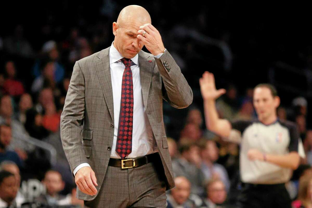 Nets head coach Jason Kidd reacts in the first quarter of Wednesday's game against the Los Angeles Lakers at the Barclays Center in Brooklyn.