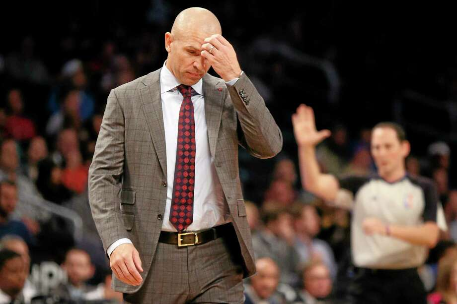Nets head coach Jason Kidd reacts in the first quarter of Wednesday's game against the Los Angeles Lakers at the Barclays Center in Brooklyn. Photo: John Minchillo — The Associated Press  / FR170537 AP