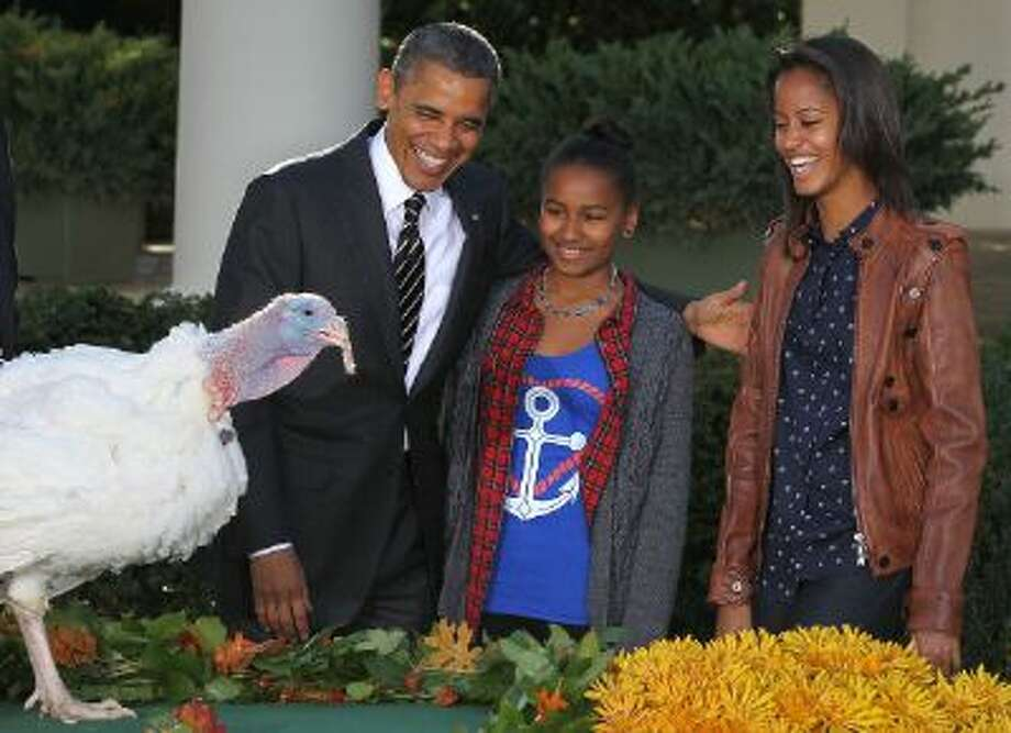 President Obama and his daughters, Sasha (L) and Malia (R), pardon a turkey in 2012. The president is one of several in D.C. with a few things to be thankful for this holiday. Photo: Getty Images / 2012 Getty Images