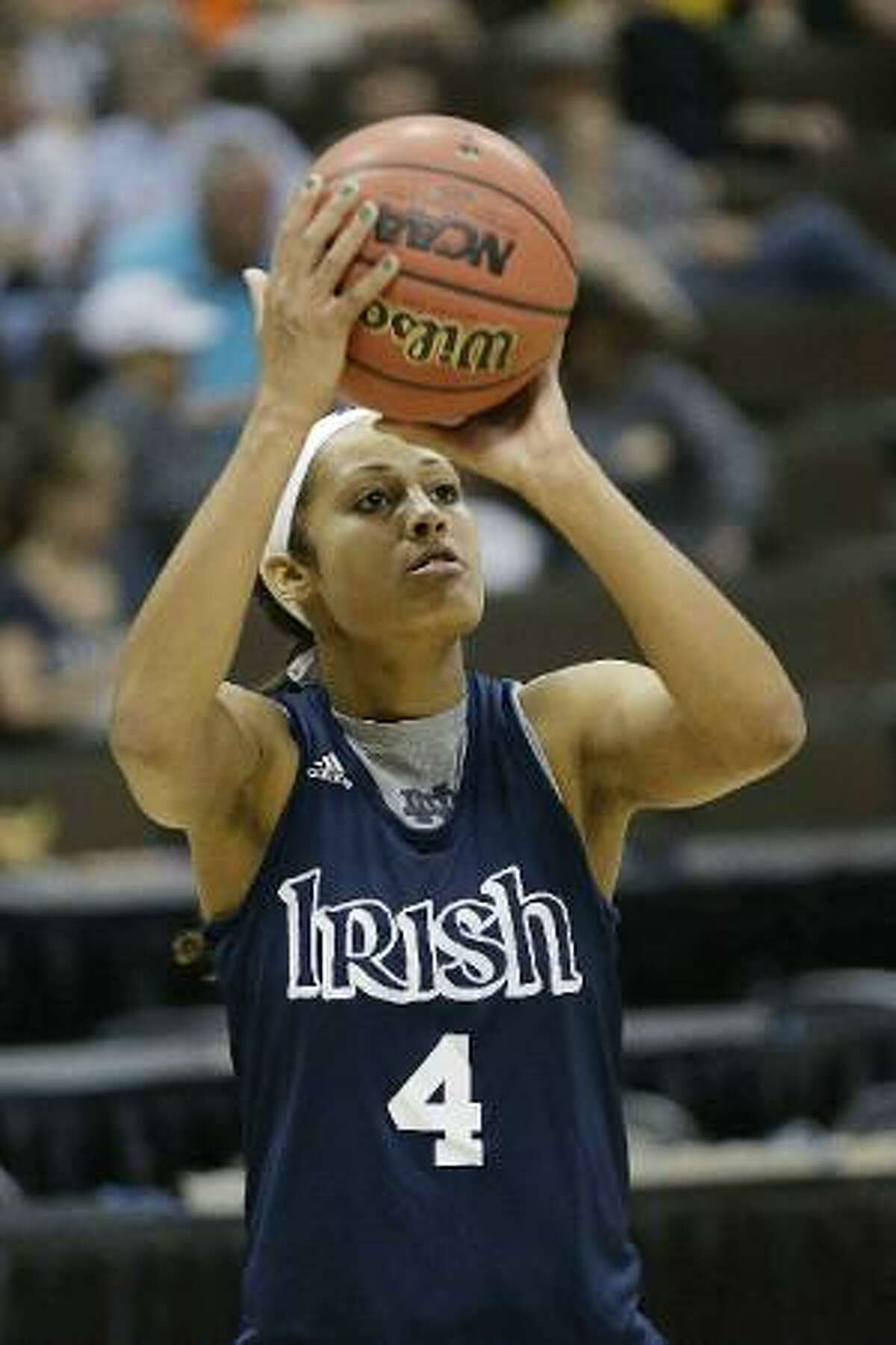 ASSOCIATED PRESS Notre Dame guard Skylar Diggins shoots during practice at the NCAA Women's Final Four in Denver Saturday.