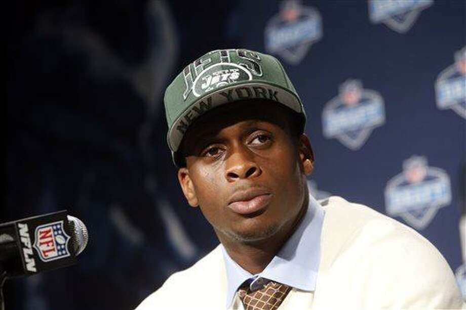 West Virginia's Geno Smith speaks during a news conference after being selected 39th overall by the New York Jets in the second round of the NFL football draft, Friday, April 26, 2013, at Radio City Music Hall in New York. (AP Photo/Jason DeCrow) Photo: ASSOCIATED PRESS / AP2013