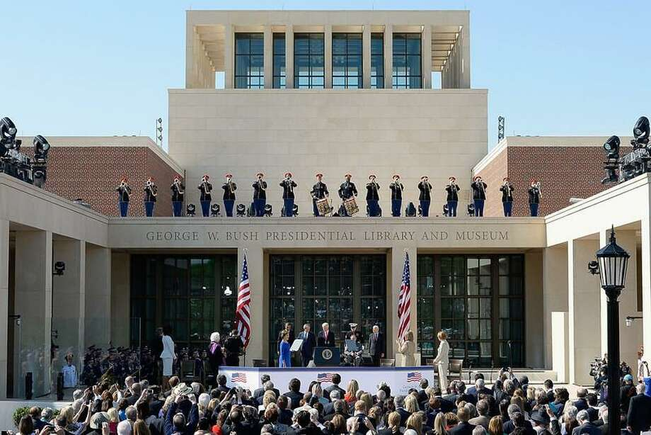 Former first lady Laura Bush, U.S. President Barack Obama, former President George W. Bush, former President Bill Clinton, former President George H.W. Bush and former President Jimmy Carter attend the opening ceremony of the George W. Bush Presidential Center April 25, 2013 in Dallas, Texas. The Bush library, which is located on the campus of Southern Methodist University, with more than 70 million pages of paper records, 43,000 artifacts, 200 million emails and four million digital photographs, will be opened to the public on May 1, 2013. The library is the 13th presidential library in the National Archives and Records Administration system.  (Photo by Kevork Djansezian/Getty Images) Photo: Getty Images / 2013 Getty Images