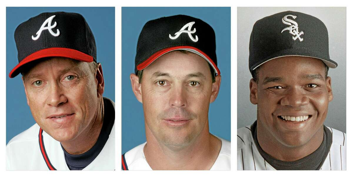 From left, Tom Glavine in 2008, Greg Maddux in 2008 and Frank Thomas in 1994 file photos. Glavine, Maddux and Thomas will appear on the Baseball Hall of Fame ballot for the first time when it is mailed to writers next month.