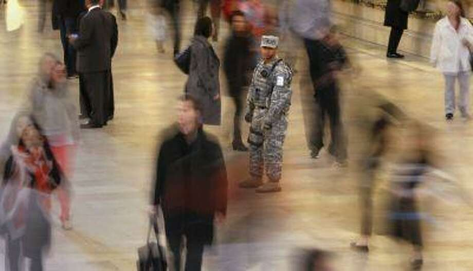 A member of the U.S. Army National Guard Joint Task Force Empire Shield stays vigilant as he stands guard at Grand Central Terminal in New York, April 16, 2013. Photo: REUTERS / X02452