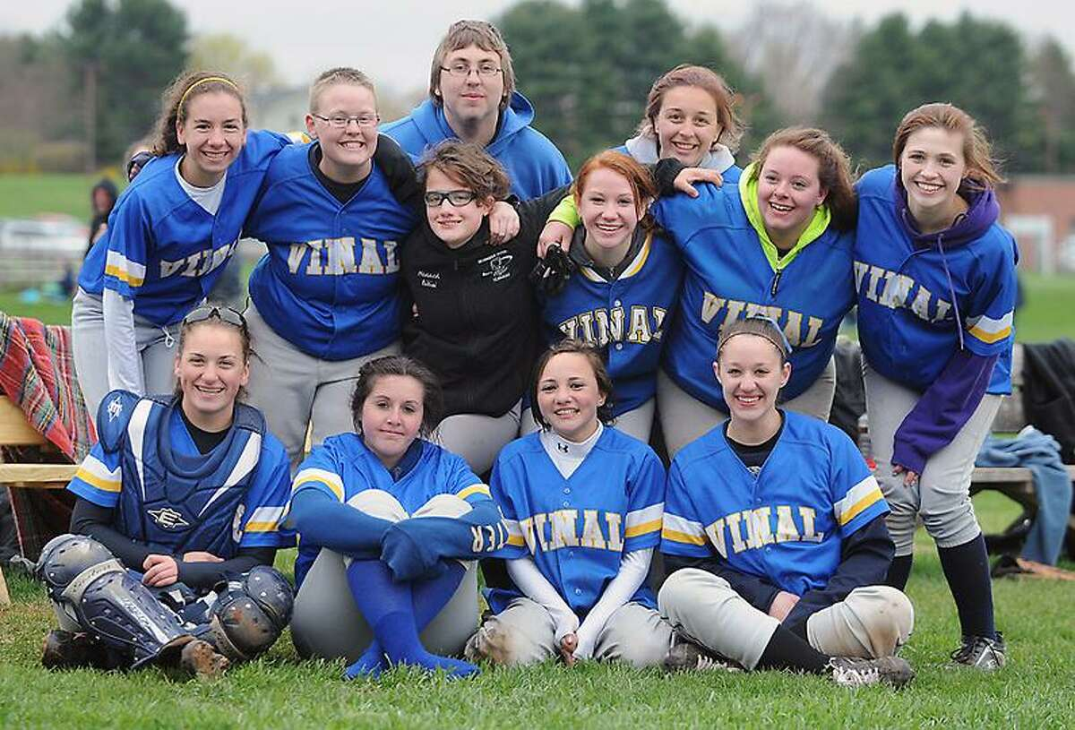 Catherine Avalone/The Middletown Press The Vinal Tech Hawks after their 26-2 win over Whitney Tech Tuesday afternoon in Middletown.