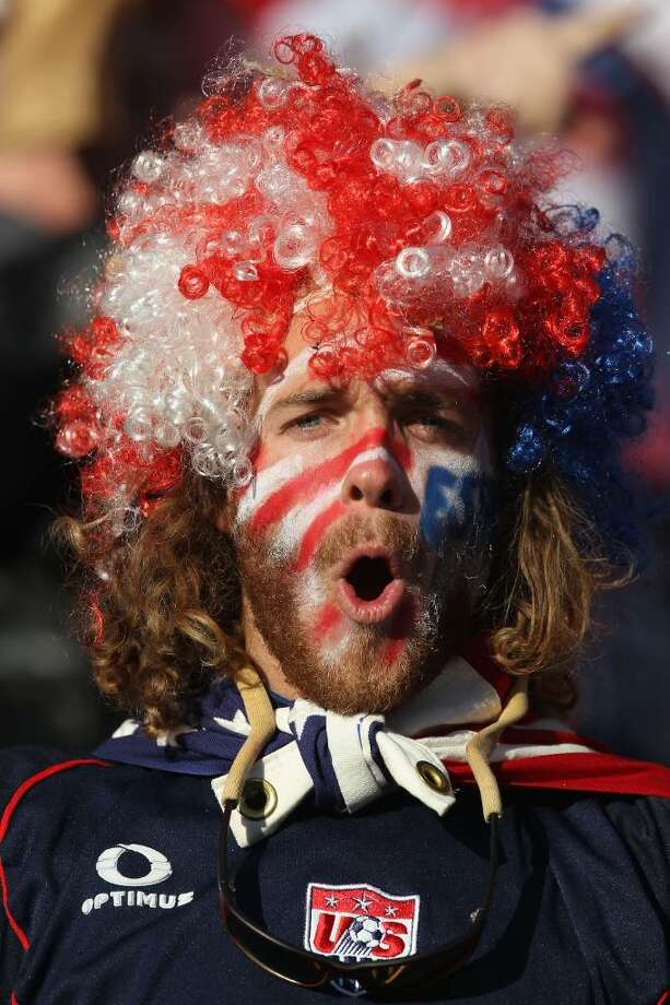 JOHANNESBURG, SOUTH AFRICA - JUNE 18: A USA fan enjoys the atmosphere during the 2010 FIFA World Cup South Africa Group C match between Slovenia and USA at Ellis Park Stadium on June 18, 2010 in Johannesburg, South Africa.  (Photo by Streeter Lecka/Getty Images) Photo: Streeter Lecka, Getty Images / 2010 Getty Images
