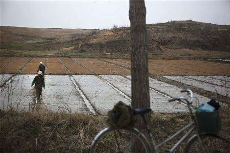 North Korean farmers work in a field inside the demilitarized zone which separates the two Koreas at Panmunjom, North Korea, Tuesday, April 23, 2013. (AP Photo/David Guttenfelder) Photo: AP / AP