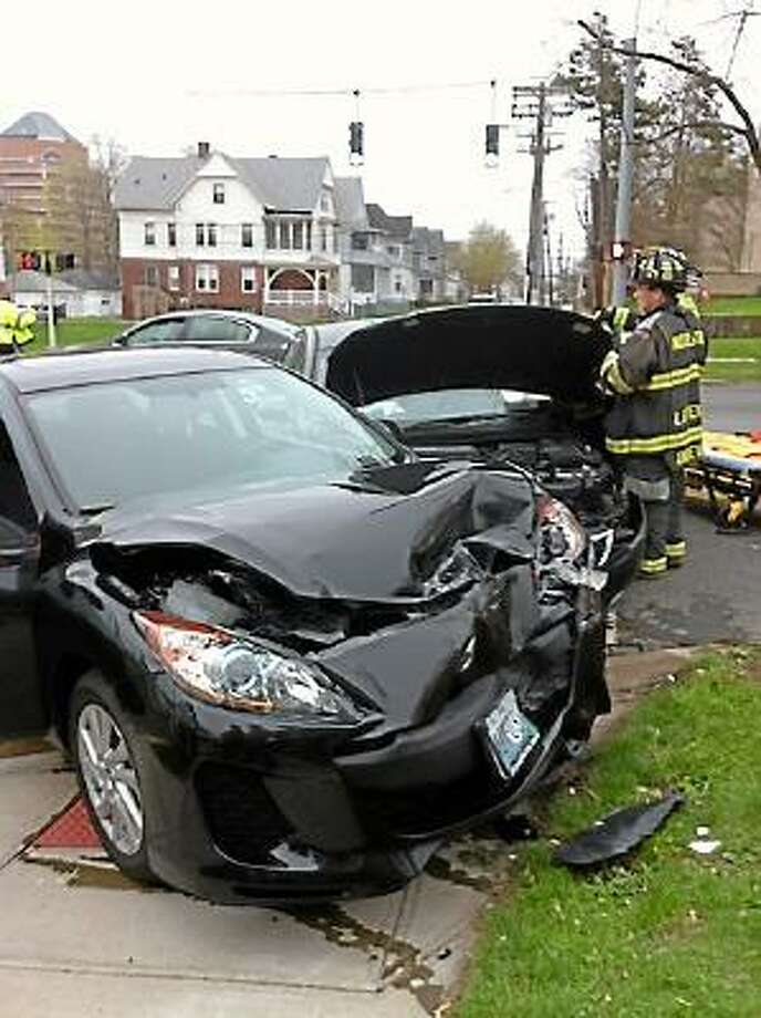Ed McKeon/Special to the Press A two-car accident by Pearl and Washington streets over the weekend.