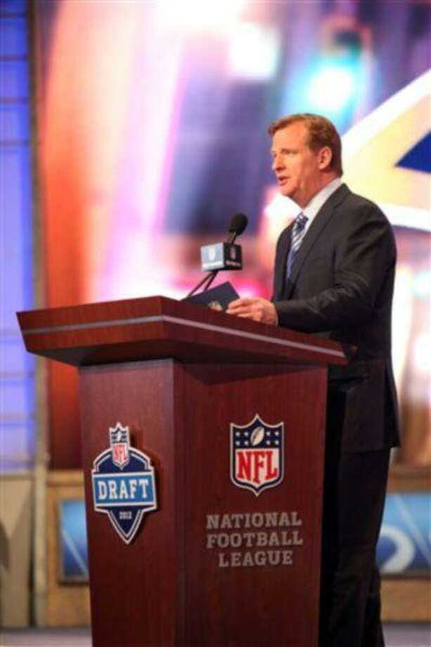 NFL Commissioner Roger Goodell is seen on stage during the first round of the NFL football draft at Radio City Music Hall, April 26, 2012, in New York. Photo: AP / AP