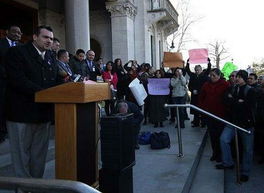 Rep. Juan Candelaria at a state Capitol rally in Hartford. Christine Stuart/CT NewsJunkie file photo