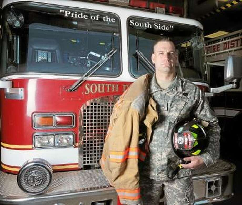 South Fire District firefighter Ryan Parmelee, 33, of Middlefield will be deployed later this month to the Middle East.   Andrew Phillip Avalone/Special to Middletown Press / TheMiddletownPress