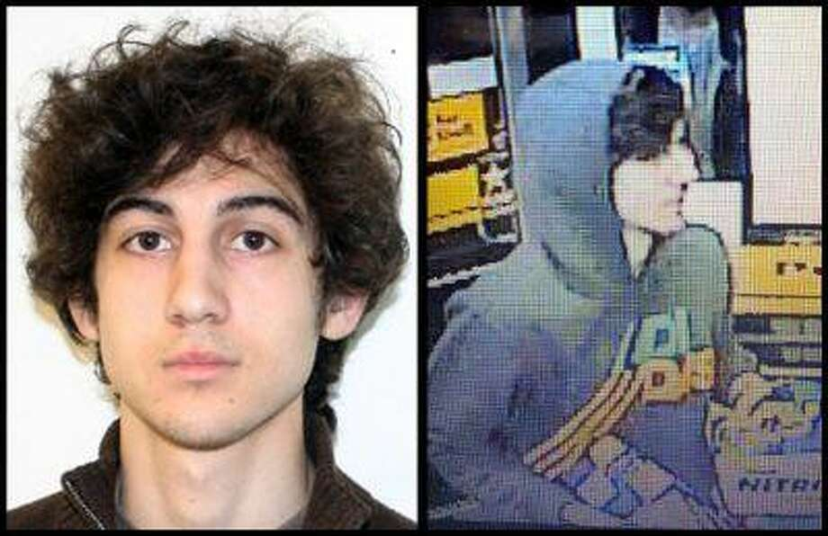 This combination of photos provided on Friday, April 19, 2013 by the Federal Bureau of Investigation, left, and the Boston Regional Intelligence Center, right, shows a suspect that officials have identified as Dzhokhar Tsarnaev, being sought by police in connection with Monday's Boston Marathon bombings. (AP Photo/FBI, BRIC) Photo: ASSOCIATED PRESS / AP2013