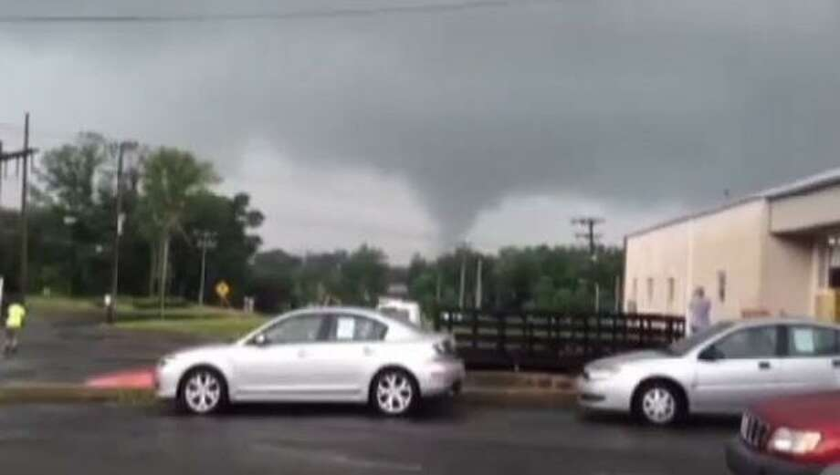 A screen grab of video from WSFB of a possible tornado Monday in the Windsor Locks area.