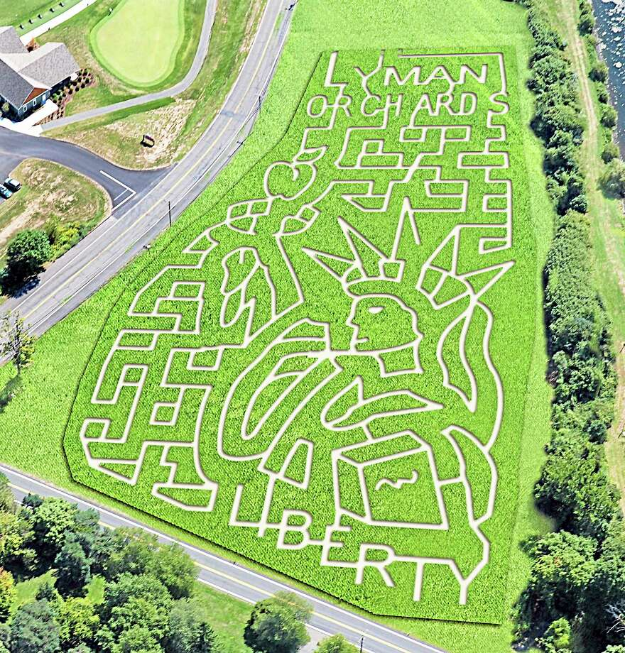An arial view of the Statue of Liberty Corn Maze at Lyman Orchards. Photo courtesy Lyman Orchards. Photo: Journal Register Co.