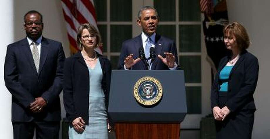 The president with his three D.C. Circuit Court nominees in June who were blocked by a filibuster. He will speak live on a change of Senate rules. Photo: Getty Images / 2013 Getty Images