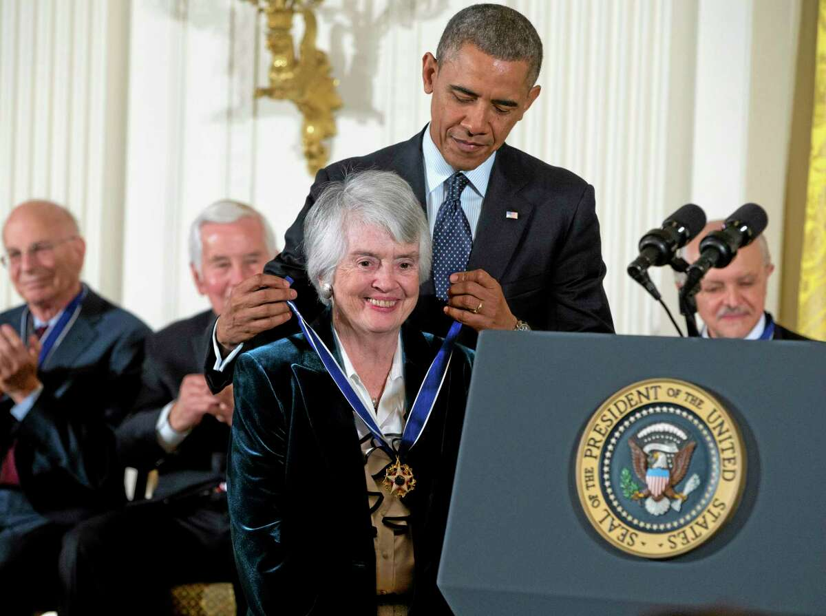 President Barack Obama awards judge Patricia Wald, a Torrington native, with the Presidential Medal of Freedom, Wednesday, Nov. 20, 2013, during a ceremony in the East Room of the White House in Washington.