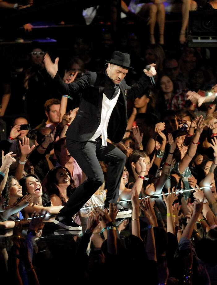 Justin Timberlake performs at the MTV Video Music Awards on Sunday, Aug. 25, 2013, at the Barclays Center in the Brooklyn borough of New York. (Photo by Scott Gries/Invision/AP) Photo: AP / Invision