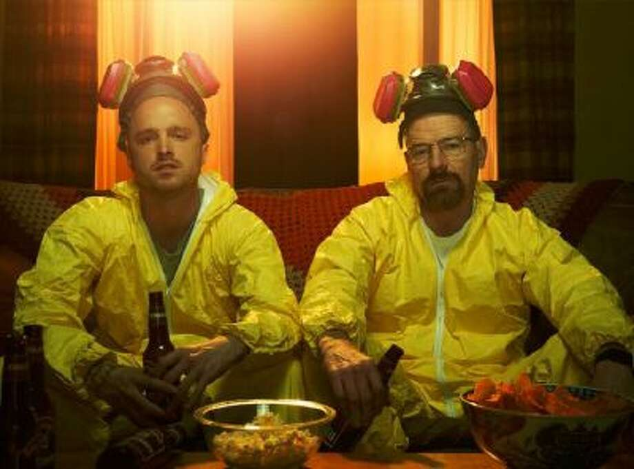 Jesse Pinkman (Aaron Paul) and Walter White (Bryan Cranston) in a scene from season 5 of Breaking Bad.