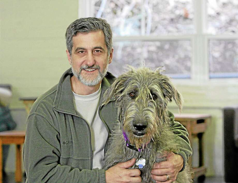 Bill Berloni of Haddam with Winn Dixie, the dog starring in the first ever Broadway play featuring a dog. Photo: Submitted Photo