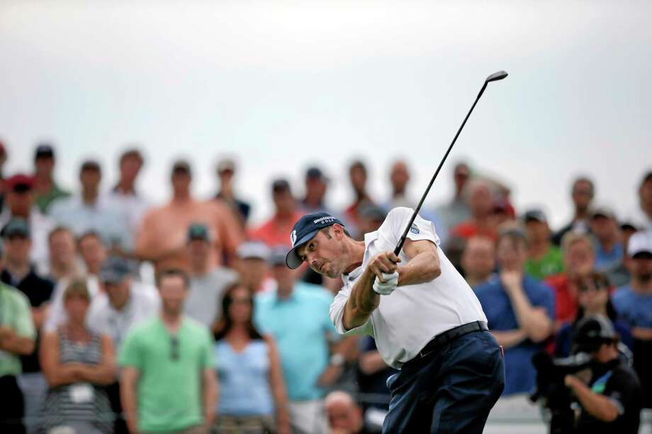 Matt Kuchar hits a shot on the second hole during the second round of The Barclays golf tournament, Friday, Aug. 23, 2013, in Jersey City, N.J. (AP Photo/Mel Evans) Photo: AP / AP