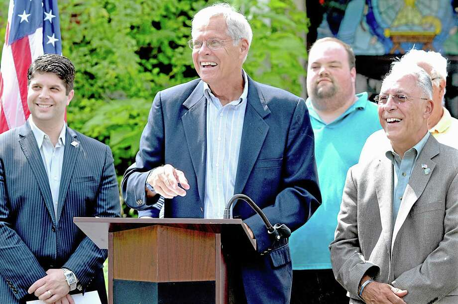 Ron Klattenberg, Chair of the Eckersely-Hall Building Committee speaks at the press conference at the site of the Senior and Community center at 61 Durant Street in Middletown. Catherine Avalone - The Middletown Press. Photo: Journal Register Co. / TheMiddletownPress
