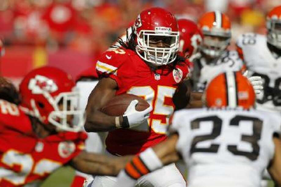 In this Oct. 27, 2013, photo, Kansas City Chiefs running back Jamaal Charles (25) carries against the Cleveland Browns during an NFL football game at Arrowhead Stadium in Kansas City, Mo.