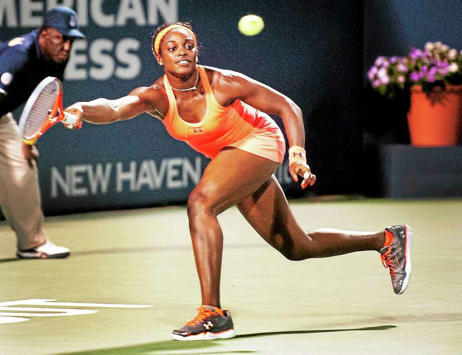 Melanie Stengel — Register       New Haven Open- Sloane Stephens in the 3rd set against Katalin Moulton-Levy 08/21 . Stephens won the match. Photo: Journal Register Co.