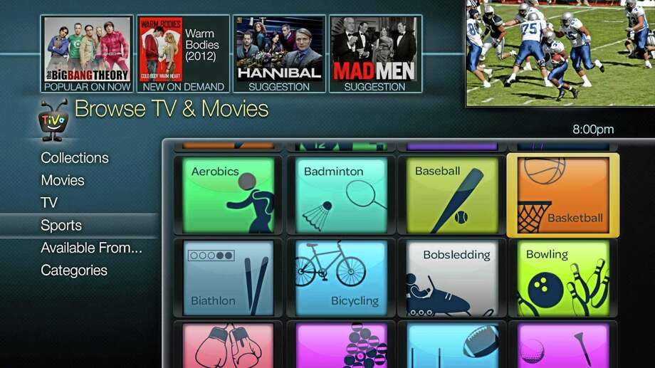 This image provided by TiVo, Inc shows a sports menu from the new TiVo Roamio Plus. TiVo Inc. announced a new line of digital video recorders Tuesday Aug. 20, 2013, to give television viewers more control over what they watch on traditional channels and over the Internet. (AP Photo/TiVo, Inc.) Photo: AP / TiVo, Inc