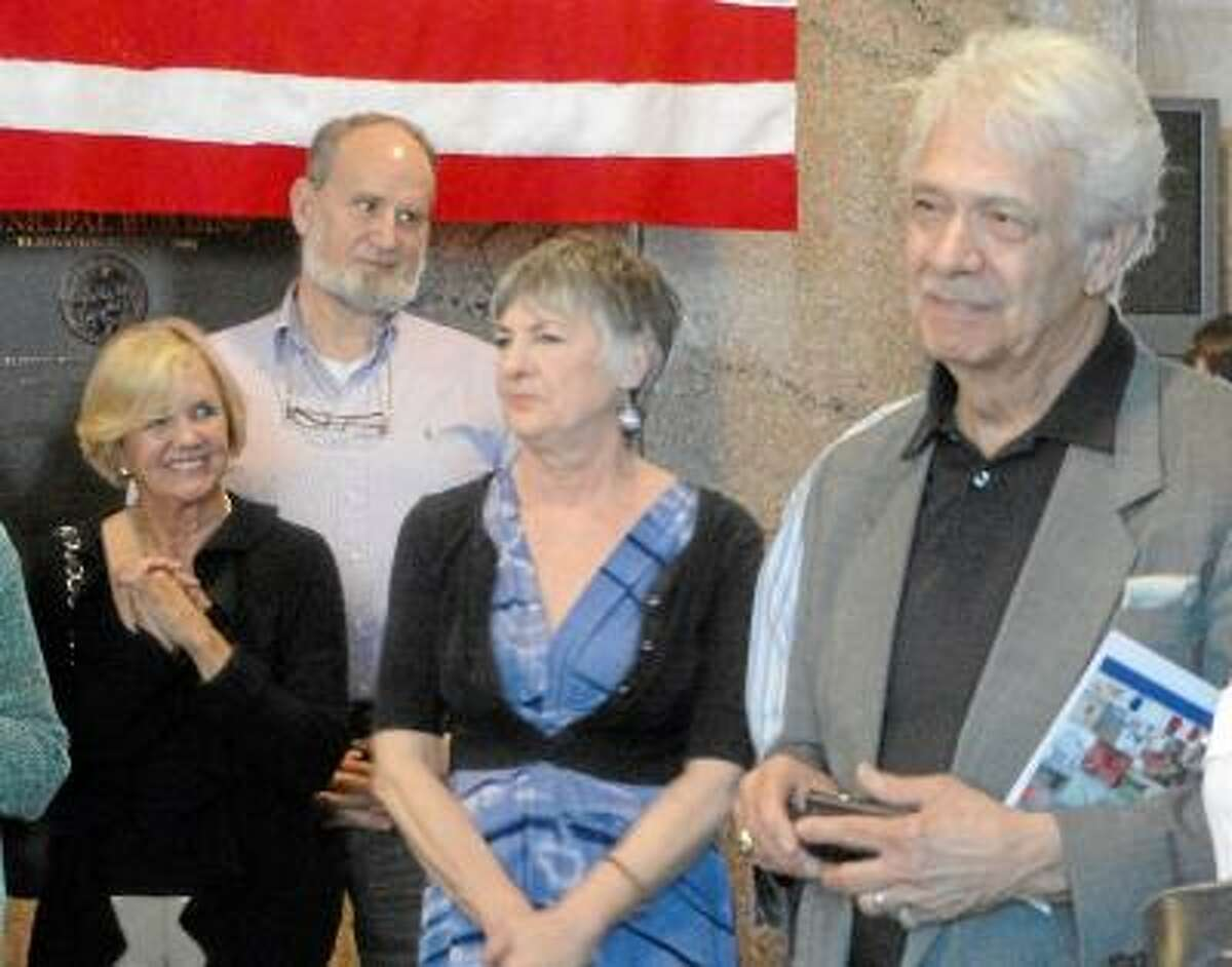 Cassandra Day/Middletown Patch Carolyn Kirsch, center, was honored Tuesday by the Middletown Commission on the Arts.