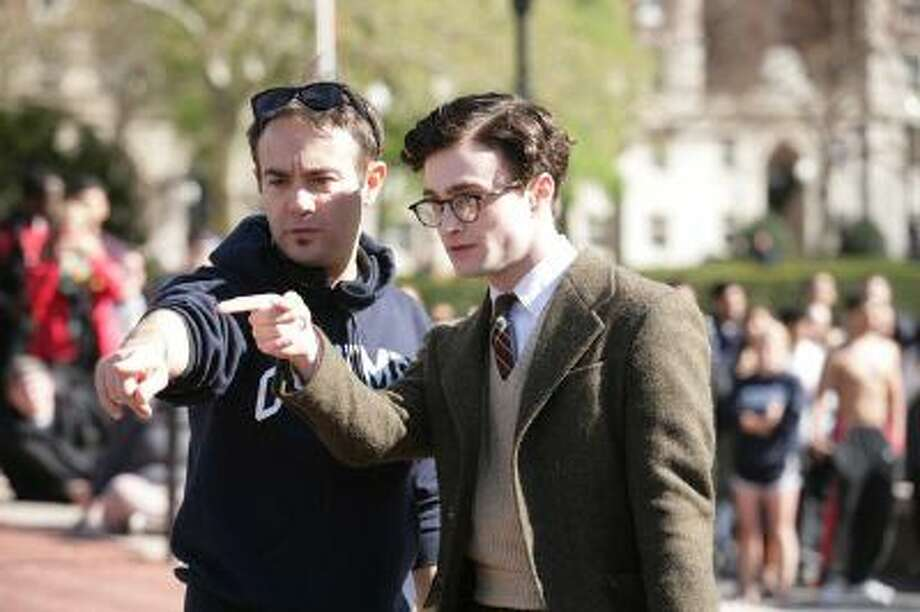 "Daniel Radcliffe, right, with director John Krokidas on the set of ""Kill Your Darlings,"" a movie focusing on poet Allen Ginsberg as a young man just discovering his possibilities in 1944. Photo: POST_UPLOAD / The Denver Post"