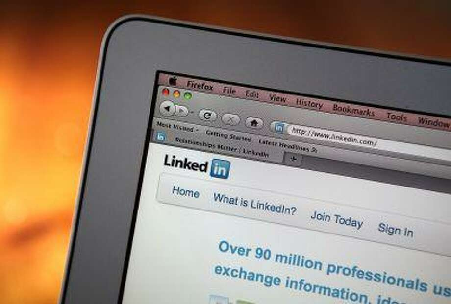 In this photo illustration, the LinkedIn logo is displayed on the screen of a laptop computer in San Anselmo, California. Photo: Getty Images / 2011 Getty Images