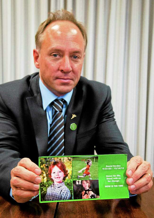 Mark Barden of Sandy Hook Promise meets with the New Haven Register editorial board Friday. Barden, advocacy director for the group, lost his son, Daniel, in the Sandy Hook Elementary School shootings in Newtown Dec. 14, 2012. Photo: Melanie Stengel — New Haven Register