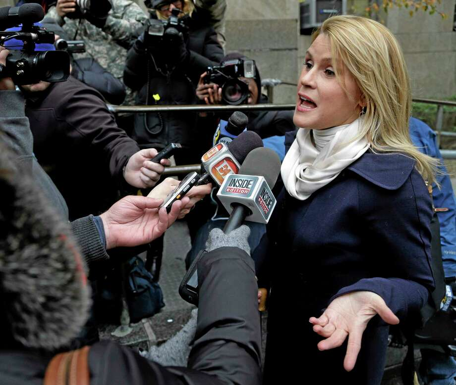 Genevieve Sabourin, who was found guilty of stalking actor Alec Baldwin, spoke with reporters earlier in the week as she arrived for her trial at criminal court in New York. (AP Photo/Seth Wenig) Photo: AP / AP