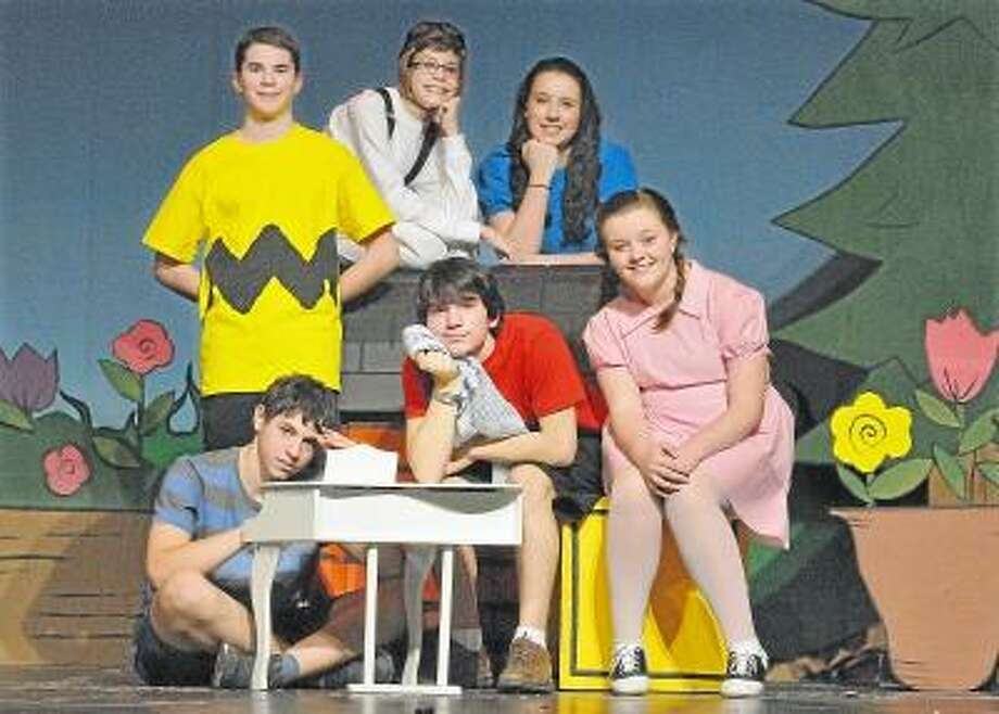 "Catherine Avalone/The Middletown Press Members of the East Hampton High School Drama Club, Matt Cole as Charlie Brown, Mason Cordeiro as Snoopy, Kaitlyn Morris as Lucy Van Pelt, Jamie Farren as Sally Brown, Lucas Gerolami as Linus Van Pelt and Sam Laraia as Schroeder will present ""You're a Good Man, Charlie Brown on April 5 and 6 at 7 p.m. and April 7 at 2 p.m. at the East Hampton High School auditorium. The play is based on the comic strip ""Peanuts"" by Charles M. Schultz and the setting is in and around the life of Charlie Brown. / TheMiddletownPress"