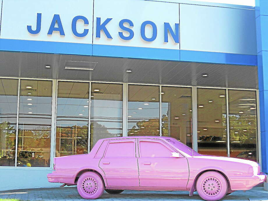 Jackson Chevrolet hosts community fundraiser, plans to crush its pink car saturday. Photo: Journal Register Co.