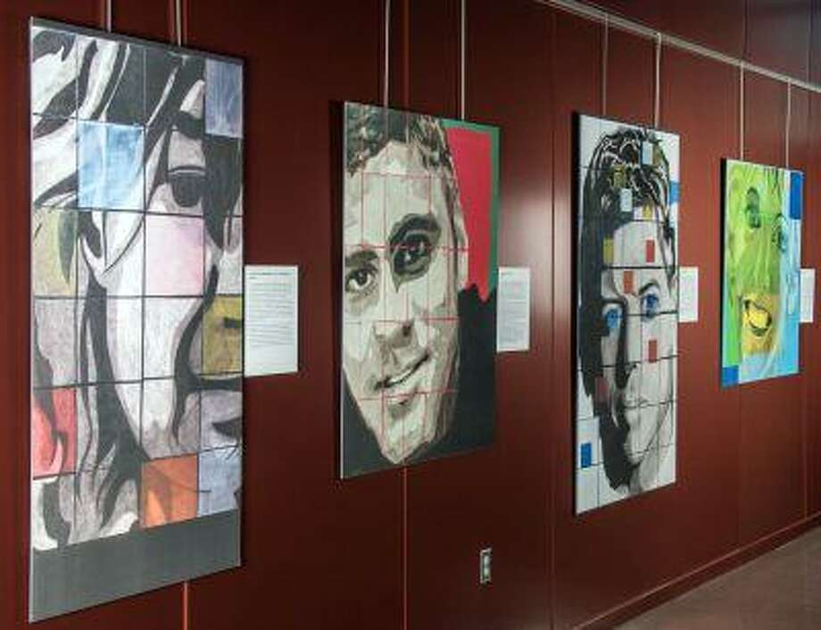 Eliette Markhbein's exhibit about brain injuries includes images of Gabrielle Giffords, George Clooney and others. (Matthew Breitbart/National Museum of Health and Medicine) Photo: THE WASHINGTON POST / THE WASHINGTON POST