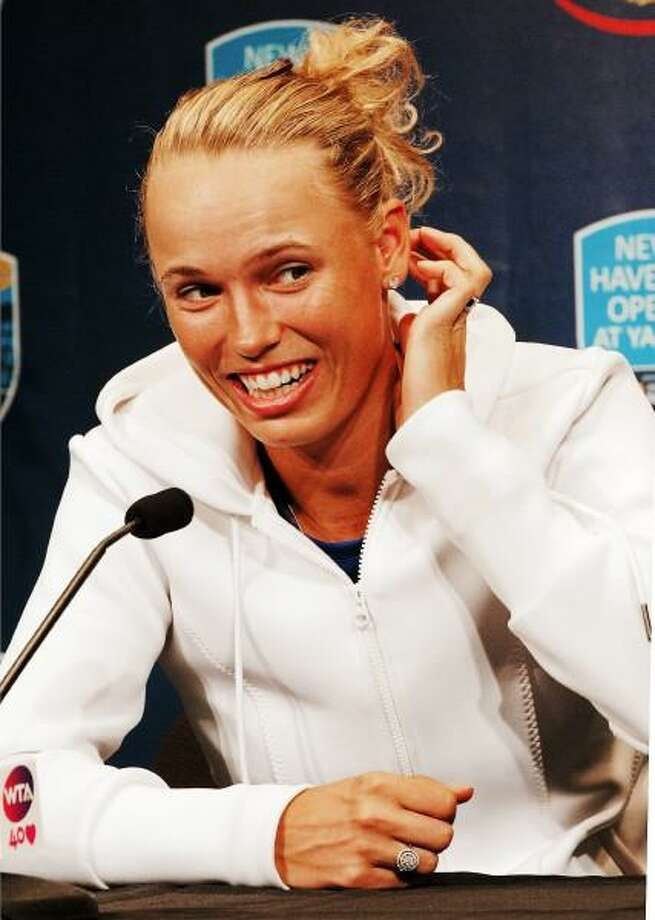 Caroline Wozniacki talks about her tennis future during a press conference on Sunday. Photo by Melanie Stengel -- New Haven Register