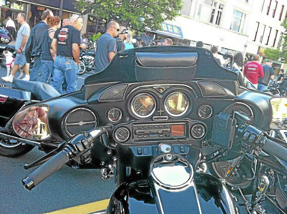 Viktoria Sundqvist - The Middletown PressCrowds gathered on Main Street in Middletown on Wednesday afternoon for the annual Motorcycle Mania. Photo: Journal Register Co.