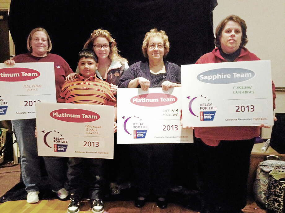 Middletown residents (left to right) Tracy Banks, Kayleen Deegan and her brother Alex Cruz, Pamela Hunter and Berlin resident Kellie Summa were honored for their contributions to last year's Relay for Life of Greater Middletown during Tuesday night's kickoff. Teams are already being formed for this summer's event. Photo: Michael T. Lyle Jr. - The Middletown Press