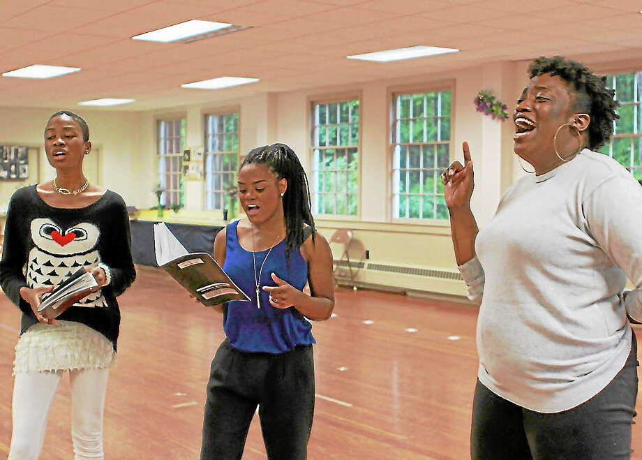 "Photographs by Anne HudsonFrom left, JennLee Shallow, Ashlee Jeudy and Sheniqua Denise Trotman rehearse a number for ""Dream Girls."" Photo: Journal Register Co."
