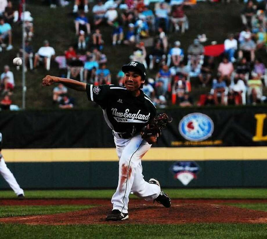 Mary Albl-New Haven Register Westport's Chad Knight throws in Thursday night's opening Little League World Series against South Nashville, Tenn. at Lamade Stadium. Knight finished with eight strikeouts.