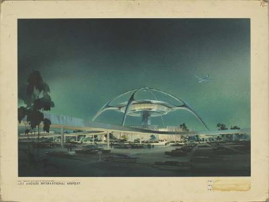 Perspective view of the Theme Building at Los Angeles International Airport designed by the architectural firm of Pereira & Luckman, part of an exhibit at the National Building Museum in Washington documenting the extraordinary history of Los Angeles. The Theme Building, resembling a flying saucer, exemplifies Googie style architecture.