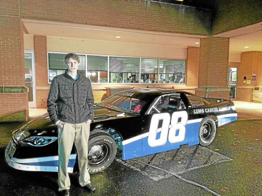 Nicholas Sowa of Middletown will race his stock car at Waterford Speedbowl in 2014 to promote lung cancer awareness in honor of his mother, who is living with lung cancer. Photo: Submitted Photo