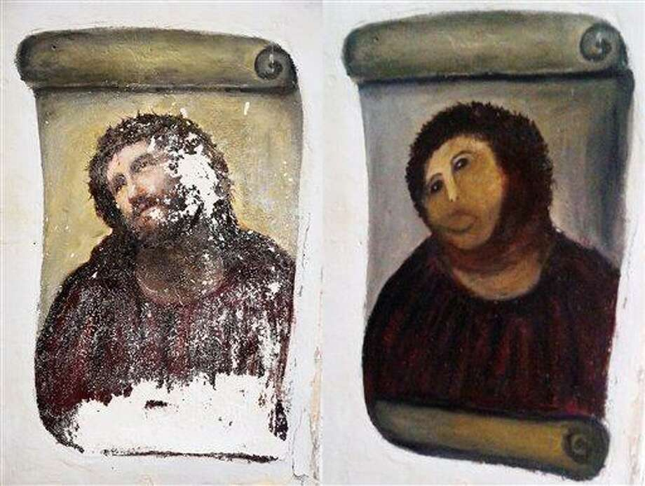 FILE - In this combination of two undated handout photos made available by the Centro de Estudios Borjanos,  the 20th century Ecce Homo-style fresco of Christ , left and the 'restored' version, at right. A year ago, a botched restoration of a fresco of Christ by an 80-year-old Spanish pensioner drew mocking laughter. Now, the artist Cecilia Gimenez has the last laugh. Officials in Borja, a town of 5,000 people in northeastern Spain, said Tuesday Aug.13. 2013, the fresco has drawn more than 40,000 visitors and raised more than euro 50,000 ($66,285) for a local charity. Next week, Gimenez and the local council which owns the sanctuary are to sign a deal sharing the profits from merchandising that features the image. (AP Photo/Centro de Estudios Borjanos, File) Photo: AP / Centro de Estudios Borjanos