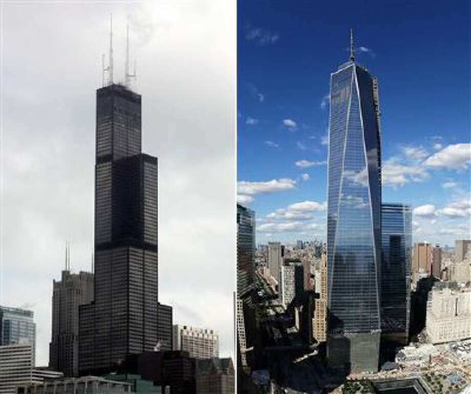 This combination made from file photos shows Willis Tower, formerly known as the Sears Tower, in Chicago on March 12, 2008, left, and One World Trade Center in New York on Sept. 5, 2013. Photo: AP / AP