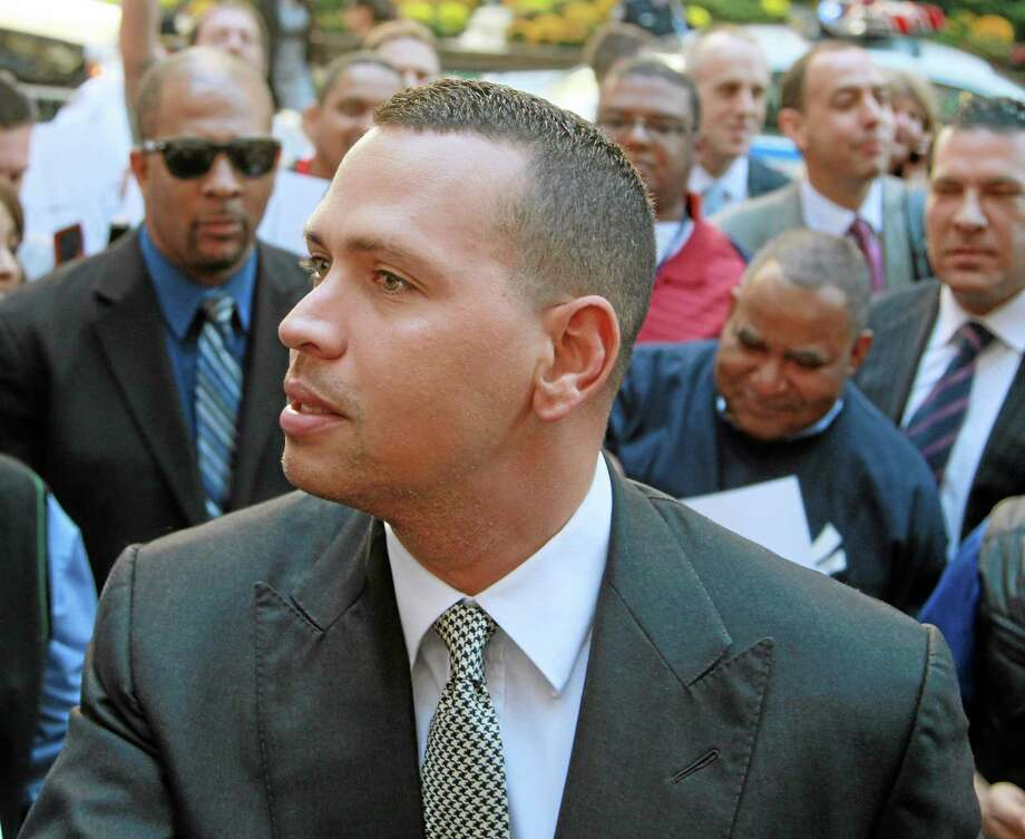 New York Yankees third baseman Alex Rodriguez arrives at the offices of Major League Baseball in New York on Friday. Attorneys for Rodriguez will appear in a New York courtroom for an initial court conference in his lawsuit against Major League Baseball. The New York Yankees third baseman is not expected at the meeting Thursday in Manhattan federal court. Photo: David Karp — The Associated Press  / FR50733 AP